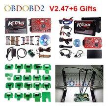 KESS V2 déverrouillage puce rouge   Sans jetons, rouge V5.017 V2.53 ECU, europe Online, KESS 5.017 4 Led KTAG 7.020 2.23, Kit de réglage