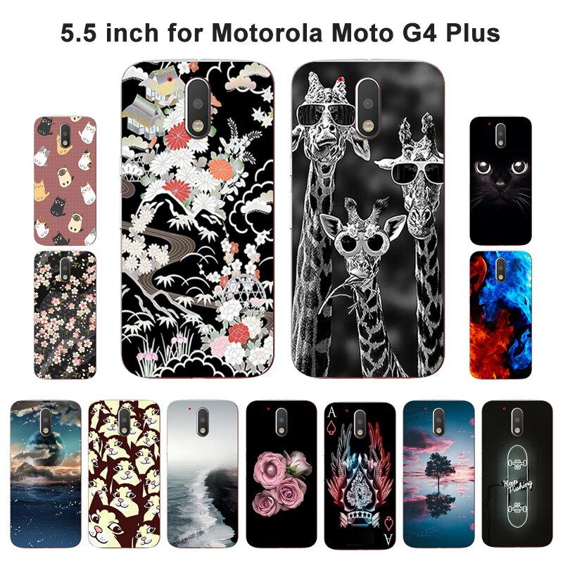 Funda de TPU para Motorola Moto G4 Plus, funda de silicona suave pintada para Moto G4 / G4 Plus (5,5 pulgadas)