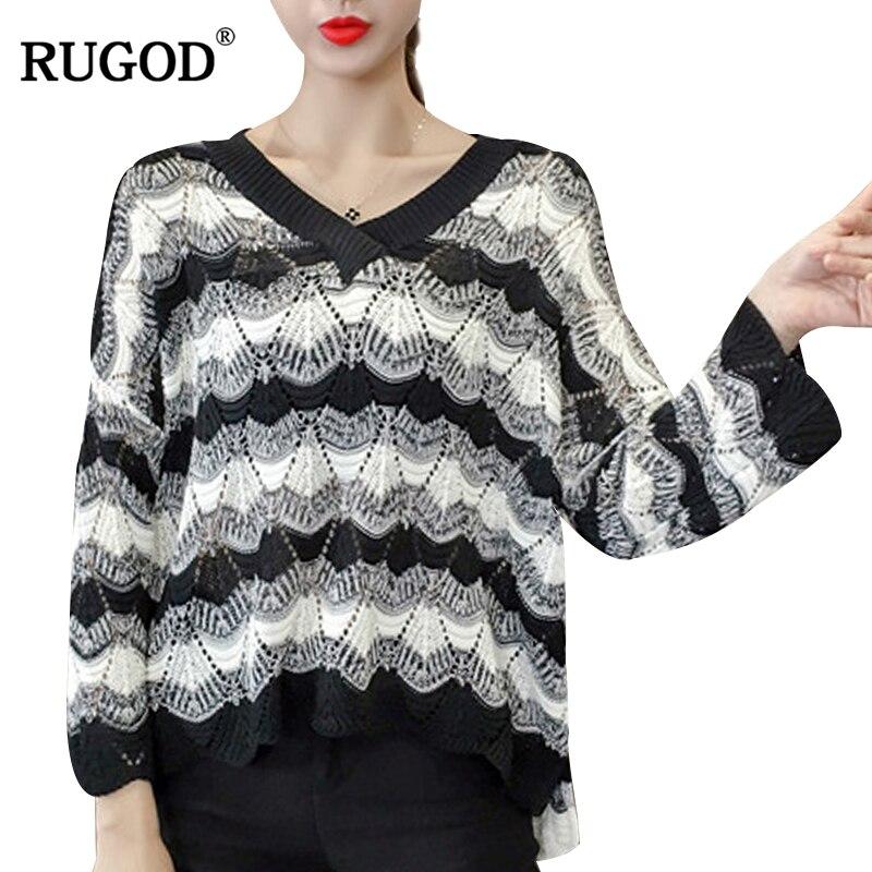 RUGOD 2019 moda Vintage Otoño Invierno suéter cuello pico manga Regular Mujer Casual rayas punto jersey Mujer