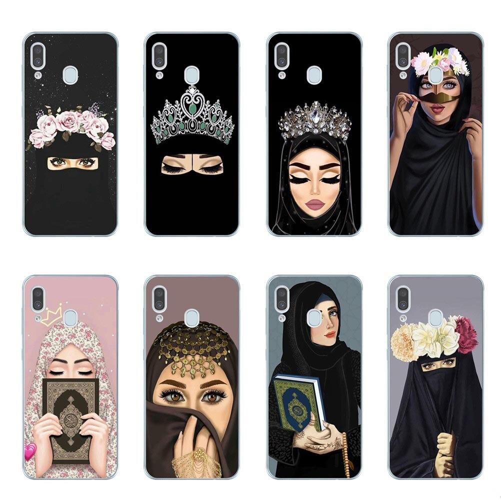 Mujer en Hijab cara musulmán islámico Gril ojos funda de teléfono funda para Samsung A10 A20 A30 A40 A50 A60 A70 A80 A6 A8 más A7 A9 2018