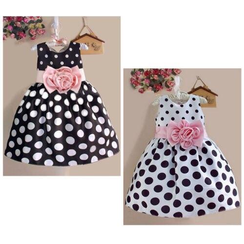 Princesa bebê crianças infantil meninas bonito fotografia vestido de festa casamento polka dot flor vestido fantasia 2-7y