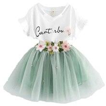 Ensemble de vêtements fleuris 2 pièces pour petites filles   Ensemble de jupe Tutu modèle licorne pour enfants, vêtements Cosplay pour filles, nouvelle collection 2-6T