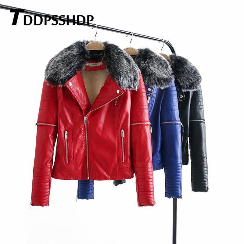 Gris fourrure col fermeture éclair PU cuir femmes vestes revers mince noir bleu rouge couleur 2019 mode femme manteau