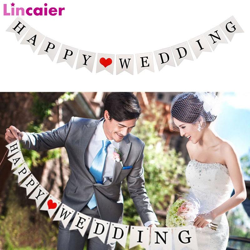 Banderitas de boda blancas de feliz boda recién casados, banderitas de boda, banderitas de papel románticas para decoración de cabina de fotos