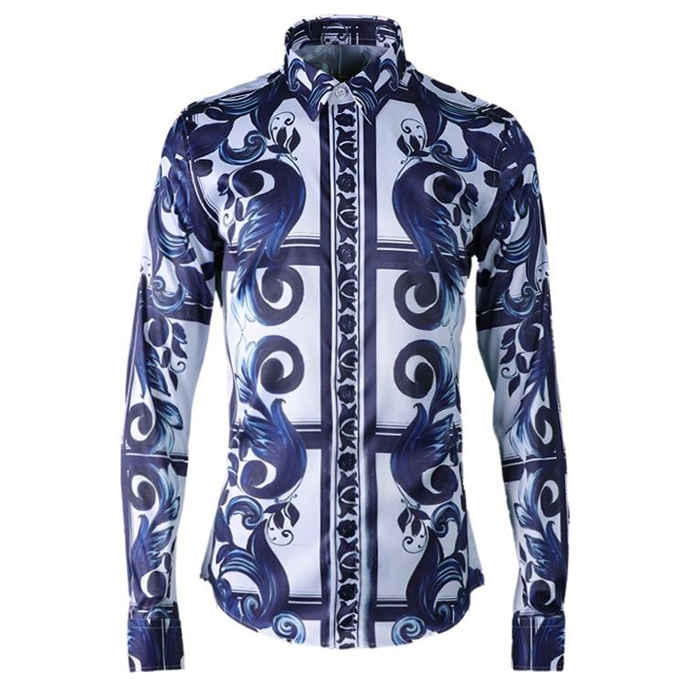 قمصان كلاسيكية عصرية غير رسمية بطباعة جديدة ماركة أريفيلا واحدة الصدر عالية الجودة بأكمام طويلة مقاس كبير