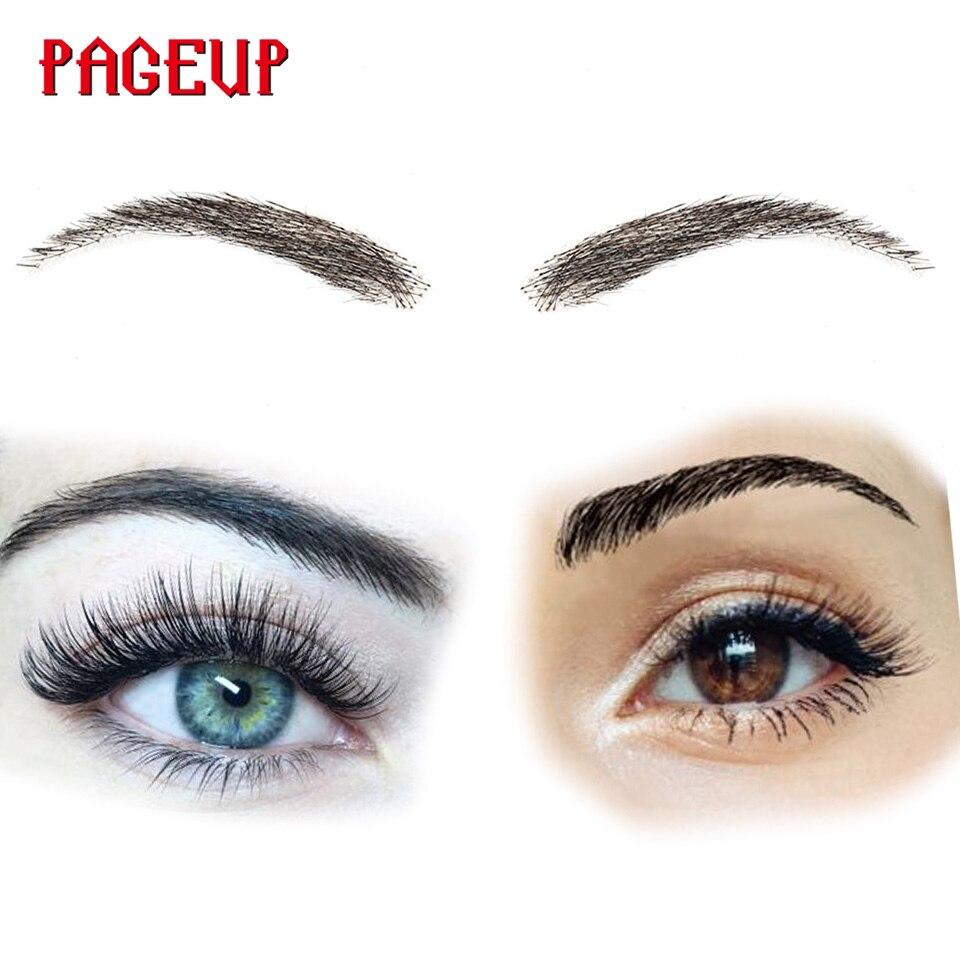 Cejas postizas hechas a mano Pageup para mujeres hechas por 100% pelo Real para fiesta boda Cosplay estrella ceja falsa cejas sintéticas