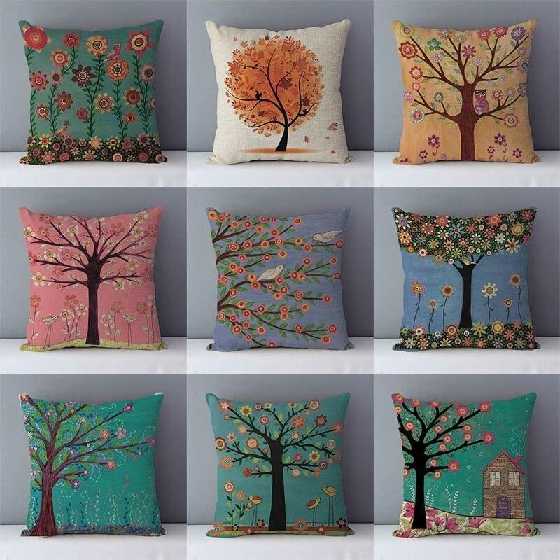 Árvores coloridas flor impresso pastoral sofá assento de volta almofada casa almofadas decorativas plantas populares fronha 45x45cm almofadas