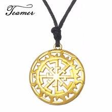 Teamer nouveauté creux soleil Talisman Pedant collier russe or rond puissance amulette bijoux pour femme/homme/amis
