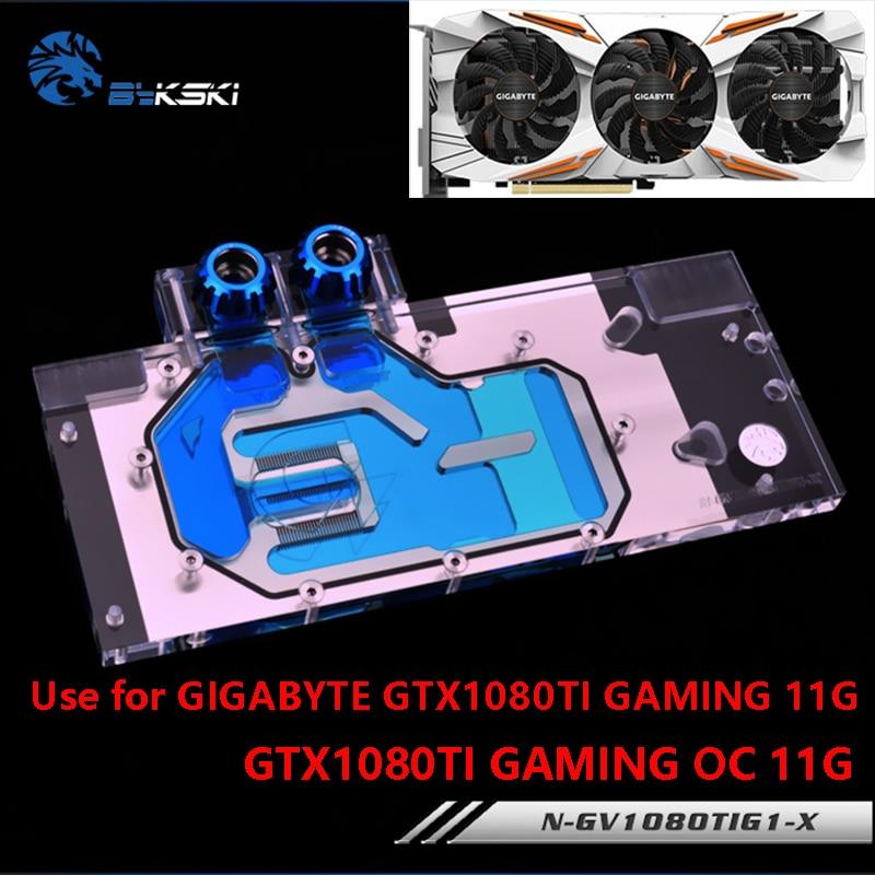 Bloque de agua BYKSKI para uso en gigabiyte GTX1080Ti-Gaming-OC-11G/GTX1080TI-GAMING-11G / GV-N108TTURBO-11GD bloque de cobre de cubierta completa