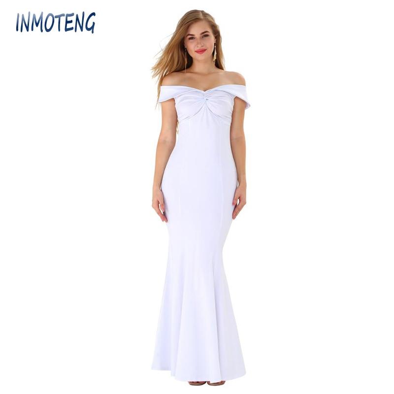 INMOTENG Sexy vendaje vestidos blanco corte en el cuello de manga corta Club vestido de fiesta de verano hombro largo Maxi Bodycon vestido