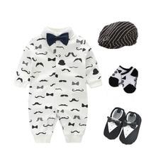 2018 Newborn baby infant boys party birthday wedding Tuxedo 3M 6M 9M 12M  bodysuit+hat+socks+shoes baby playsuit shower gift