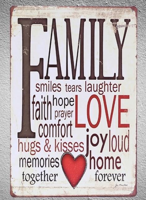 1 stück Englisch Zitate Familie Liebe speicher Glauben freude Hause Weißblech Zeichen wand plaques manneshöhle vintage Dropshipping metall Poster