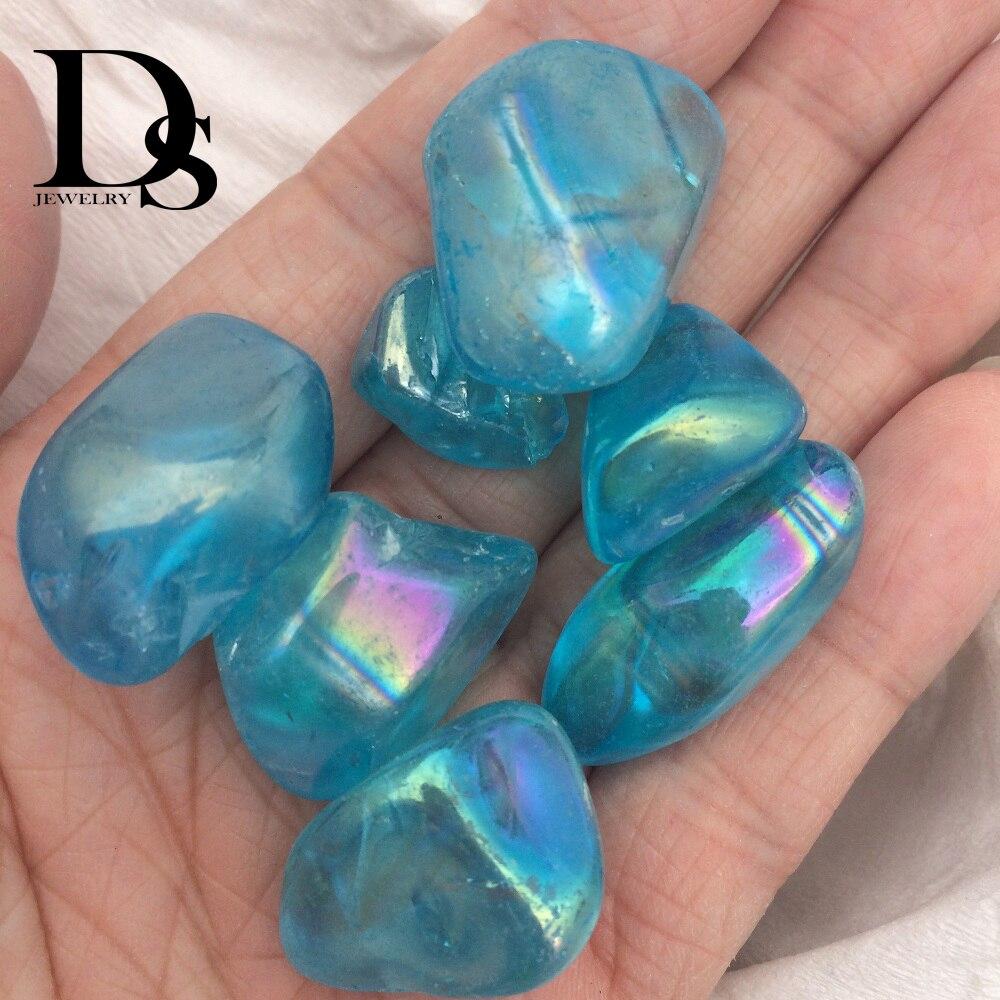 5 pcs Aura Anjo Quartzo Azul Cristal Tombado Pedras Naturais Portátil Tumble Pedra Chakra Cura Minerais Energia Moda Novidade