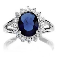 blue solitaire ring white gold filled oval cut wedding womens ring size 6 9