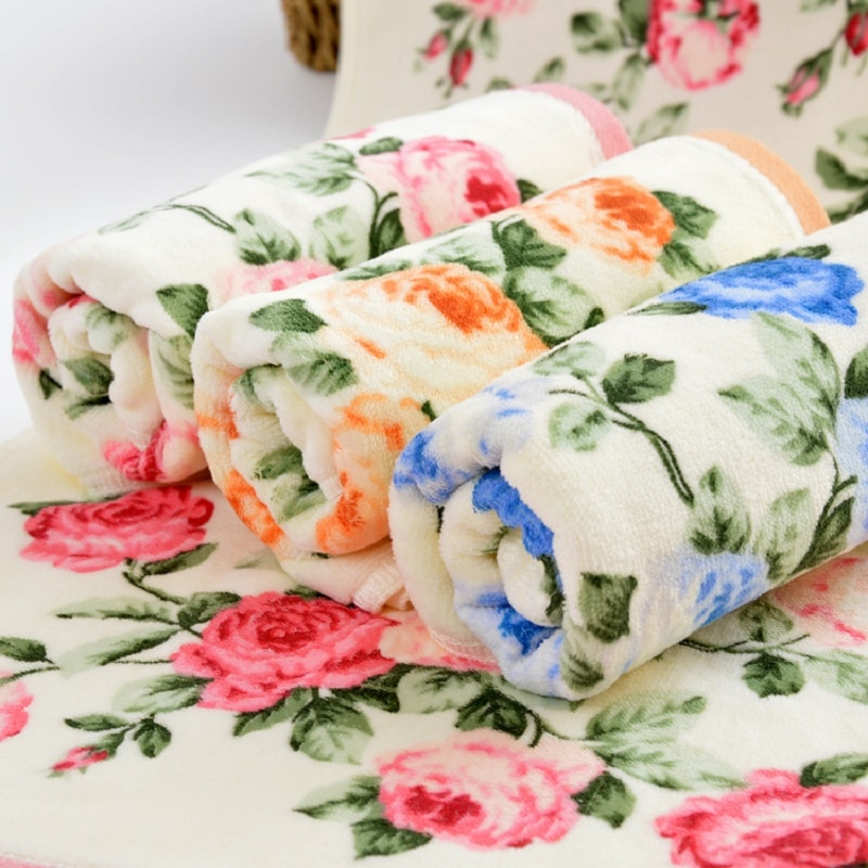 Pretty Peony Floral Bathroom Face Towel 100%cotton Soft Water Beach Towel 34*76cm Home Textile
