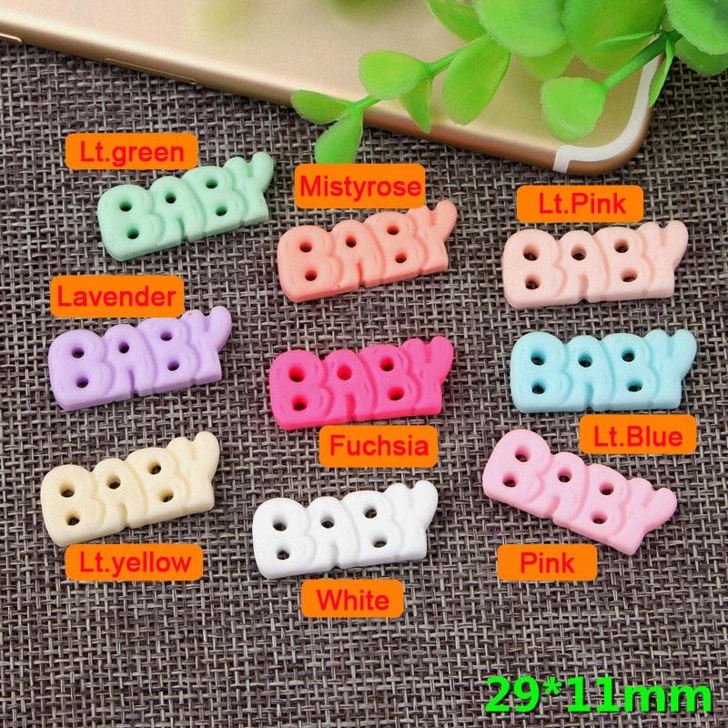 50pcs/Lot 29x11mm Alphabet Letter Baby Resin Flatback Cabochons Scrapbooking DIY Hair Bow Center Crafts