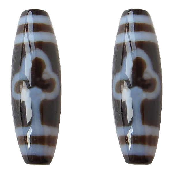 YYW Natural tibetano Agata Dzi cuentas de joyería de la hoja de Forma ovalada dos tonos 13x38mm DIY haciendo joyería suelta cuentas de piedra Real