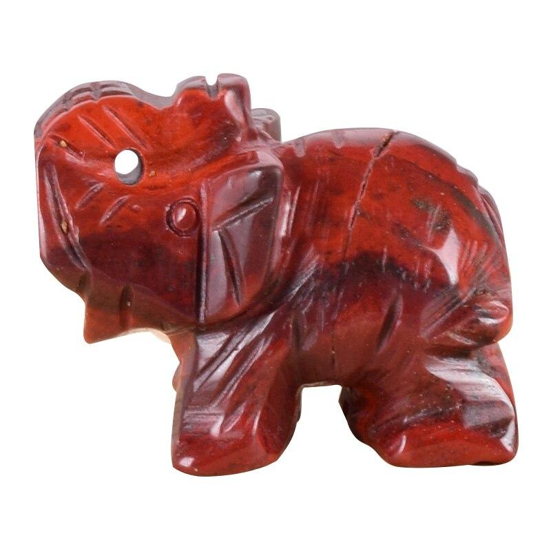 """Estatuilla de elefante jaspe rojo caja de regalo artesanía tallada Piedra Natural 1,5 """"Cristal Mini animales estatua para decoración Chakra sanación"""