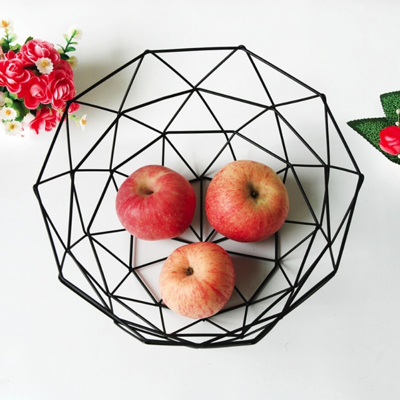 Fruta original aperitivos dulces cesta de escritorio dormitorio cocina cesta de frutas decoración hierro Europea hueco negro cesta