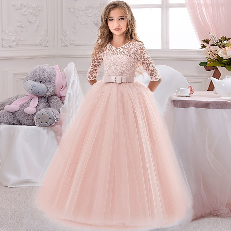 Flower Girl's Birthday Banquet Lace Stitching Dress Elegant Girl Evening Party Dress Princess Flower Girls Eucharist Party Dress