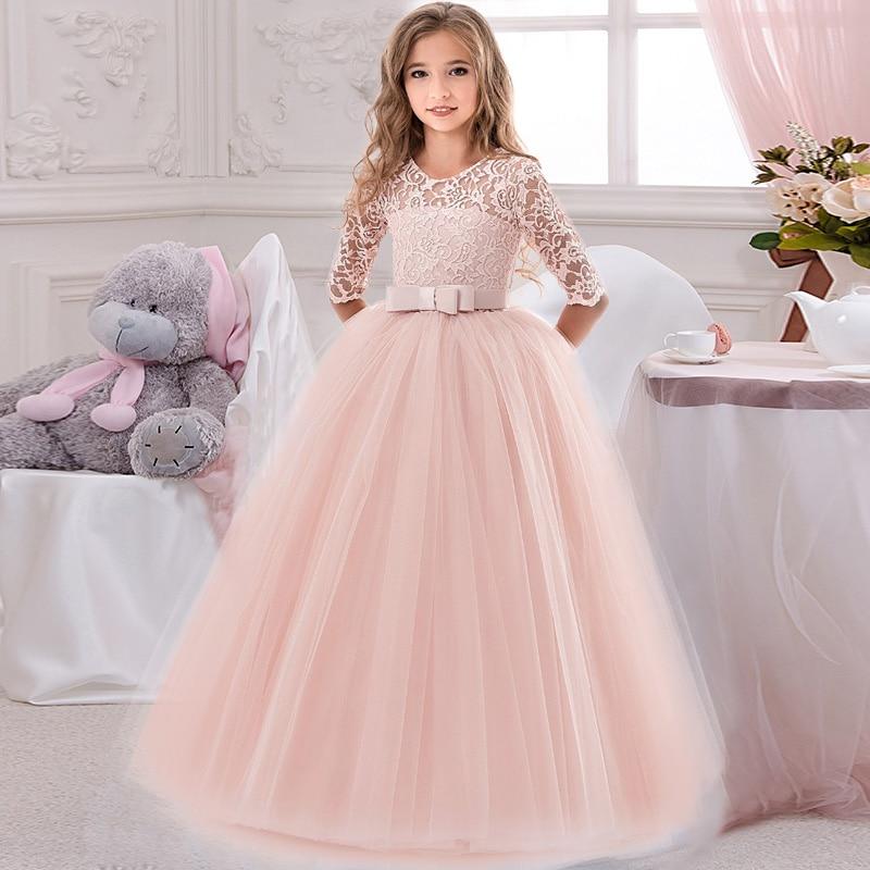 Flower Girl's Birthday Banquet Lace Stitching Dress Elegant Girl Evening Party Dress Princess Flower Girls Eucharist Party Dress