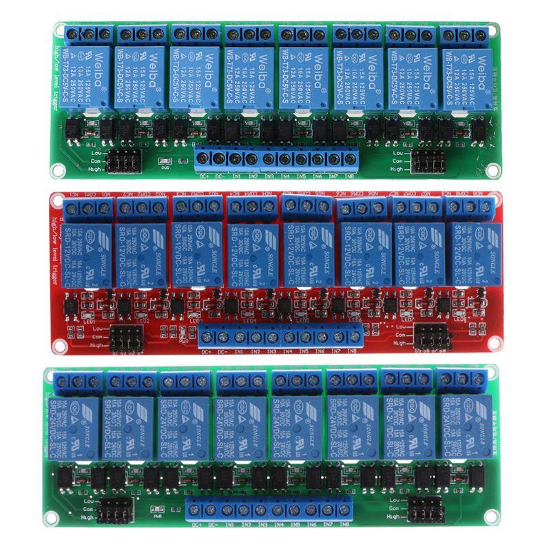 8 módulo de canal de relé 5 V/12 V/24 V alto y bajo nivel control de relé de disparo con optoacoplador para control de equipos de automatización PLC