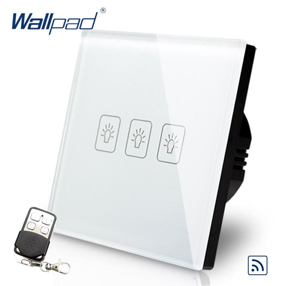 عن 3 عصابة 2 طريقة الاتحاد الأوروبي الأوروبي Wallpad الأبيض الزجاج اللاسلكية RF Broadlink واي فاي 3 عصابة مزدوجة التحكم باللمس التحكم عن بعد التبديل