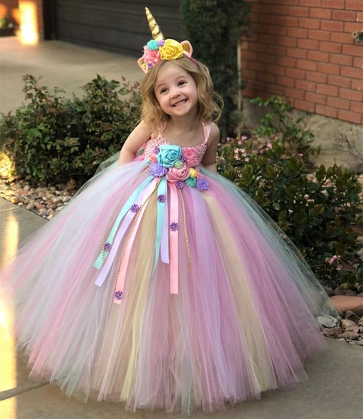 Niñas Pastel unicornio flor Tutu vestido niños Crochet tul vestido de tirantes vestido de bola con margaritas cintas niños fiesta traje vestido