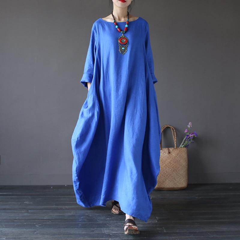 Johnature 2020 New Casual Dress Plus Size Women Clothes O-Neck Summer 5 Color Vintage Three Quarter Sleeve Robe Maxi Dresses 5XL
