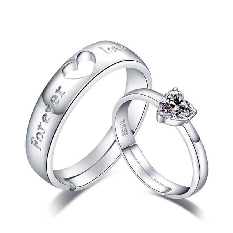 100% 925 sterling silver romantic I DO letter lovers`wedding couple adjustable rings finger ring wholesale jewelry gift