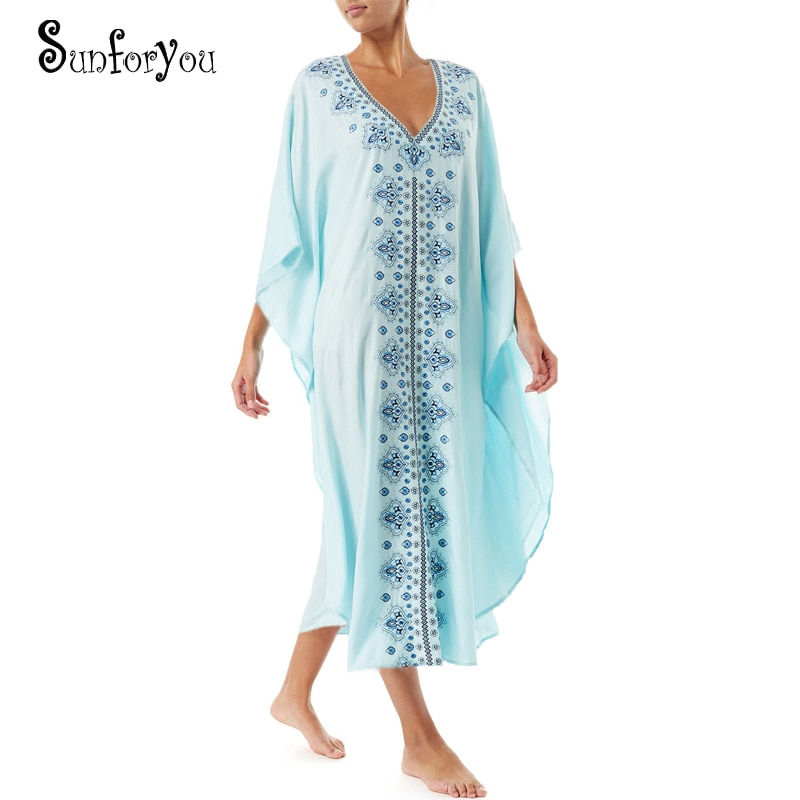 New Cotton Embroider Beach Dress Cover up Robe de Plage Plus size Swimwear Vestido Playa Sarong Bikini Cover up Tunic for Beach