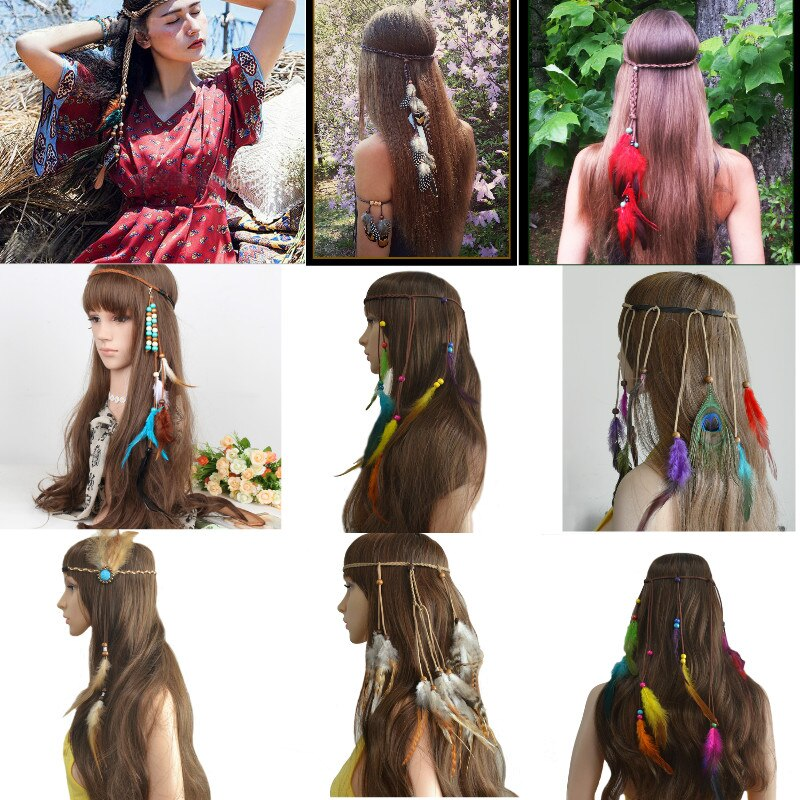 Разноцветные головные уборы с перьями ручной работы в этническом стиле, головной убор для хиппи, головные уборы для волос, модные украшения