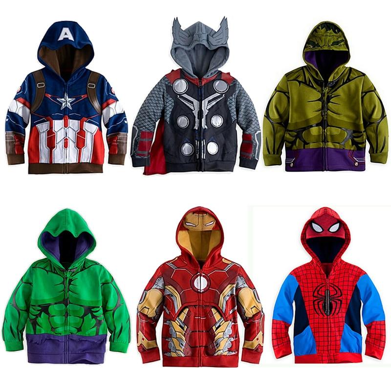 Детские толстовки с капюшоном «Железный человек», «Тор», «мстители» Одежда для мальчиков пальто для маленьких мальчиков костюм Человека-паука на Хэллоуин Детские топы, футболки, MBT094
