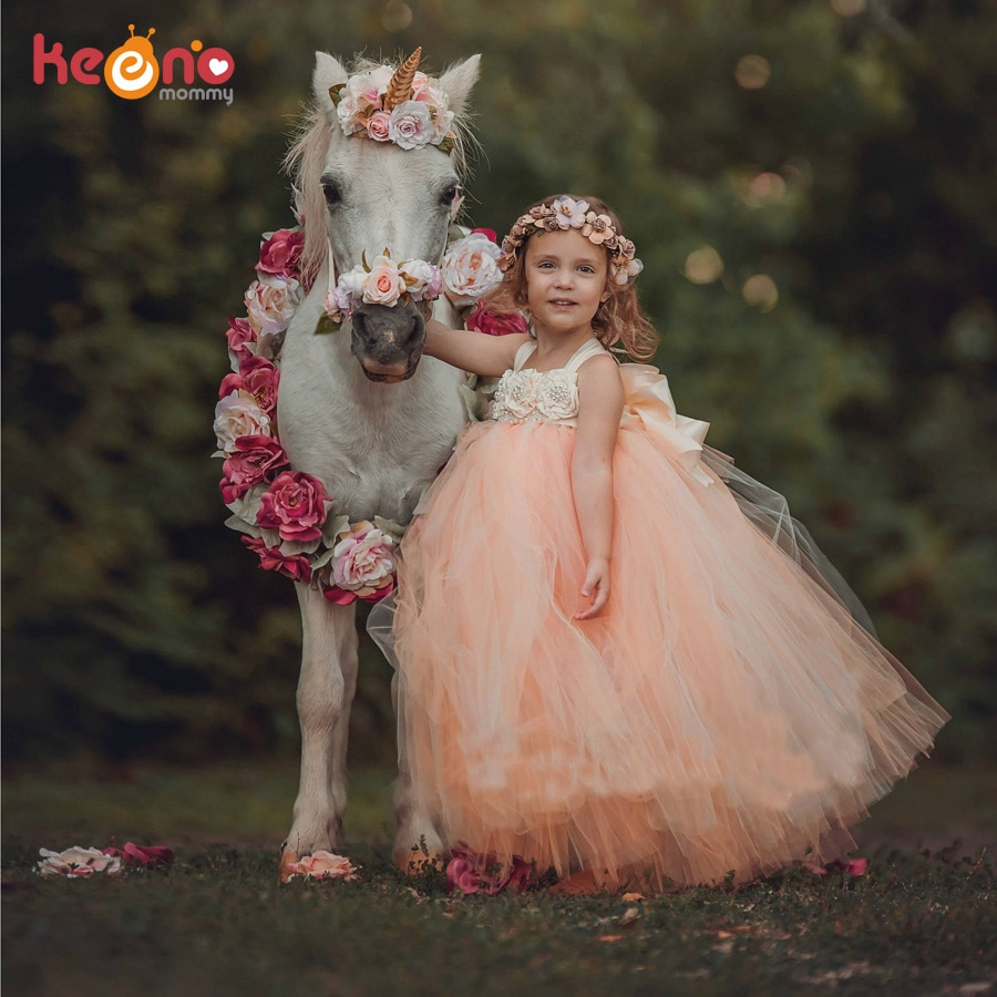 Handmade Fairy Peach Flower Girls Wedding Tutu Dress Princess Kids Ball Gown Dress for Girls Pageant Party Clothes Tulle Dress
