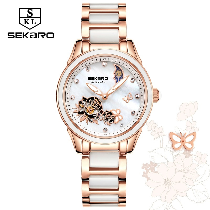 Relojes de cerámica Sekaro para mujer, reloj de lujo, reloj mecánico automático, reloj de mariposa de belleza de cristal de zafiro para mujer