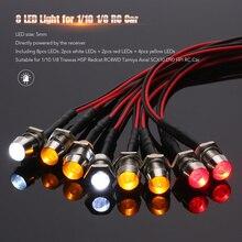 8 led 라이트 키트 2 화이트 2 레드 4 옐로우 1/10 1/8 traxxas hsp redcat rc4wd 타미야 축 scx10 d90 hpi rc 자동차 led 램프
