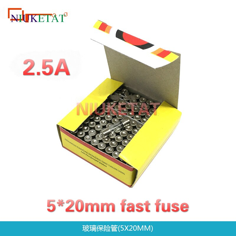 100 sztuk/pudło 5*20mm 2.5A 250 V szybki bezpiecznik 5*20 F2.5A 2500mA 250 V bezpiecznik szklany 5mm * 20mm nowy i oryginalny