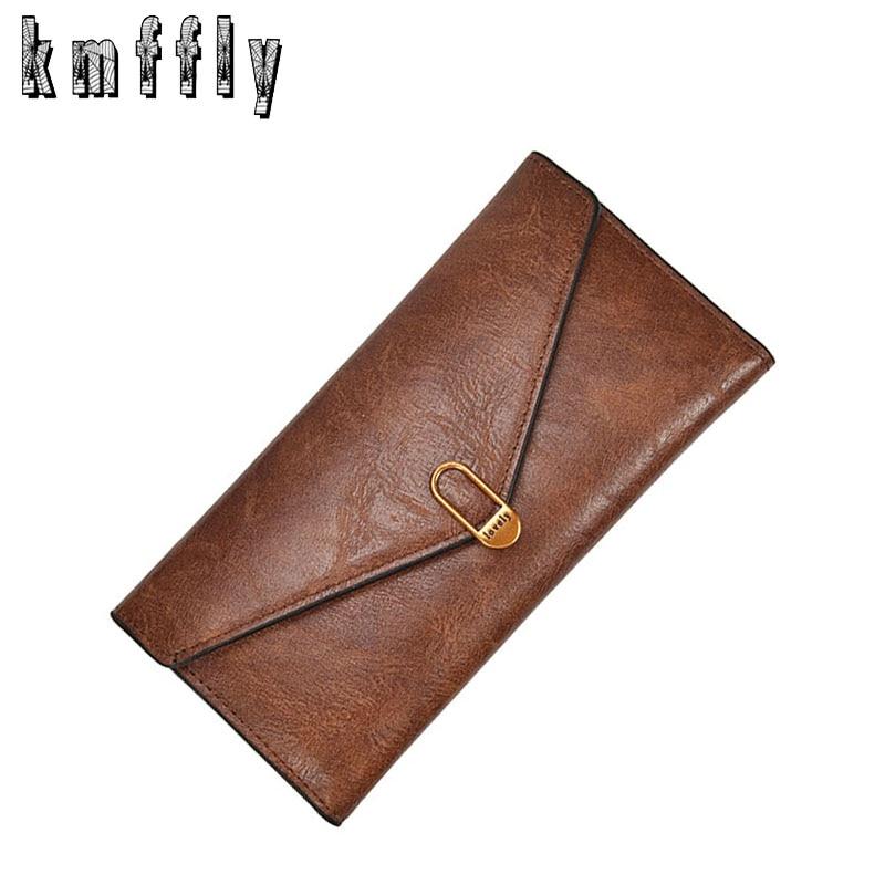 Vintage Long Solid Luxury Brand Women Wallets Fashion Hasp Leather Wallet Female Purse Clutch Money Women Wallet Coin Purse