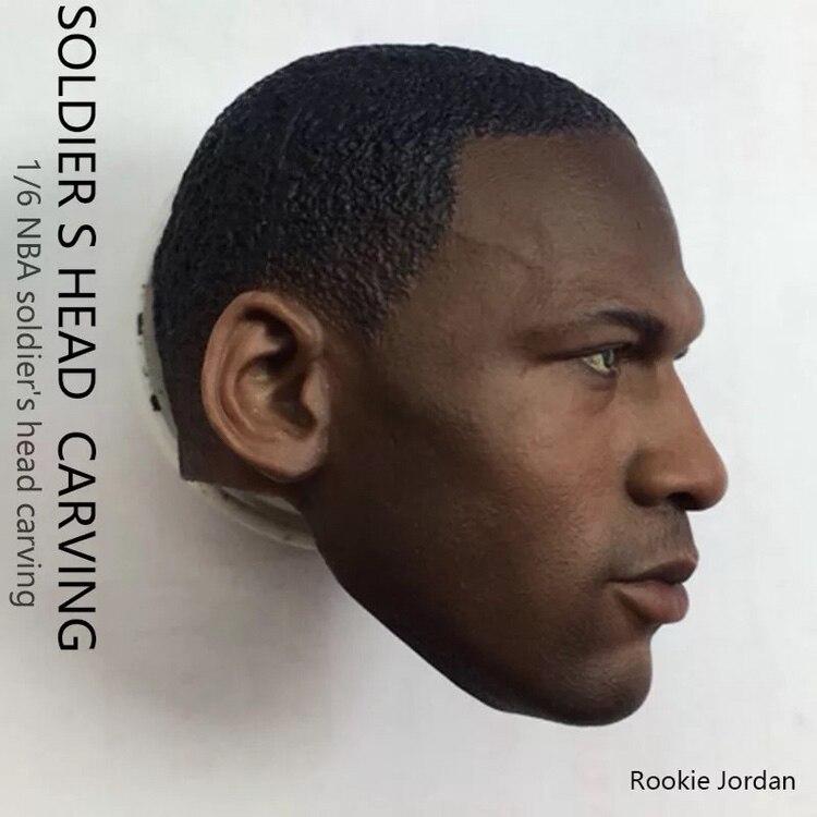 "1/6 Michael Jordan Head Sculpt for Custom Rookie Jordan 12"" Hot Toys Enterbay Figure Body"
