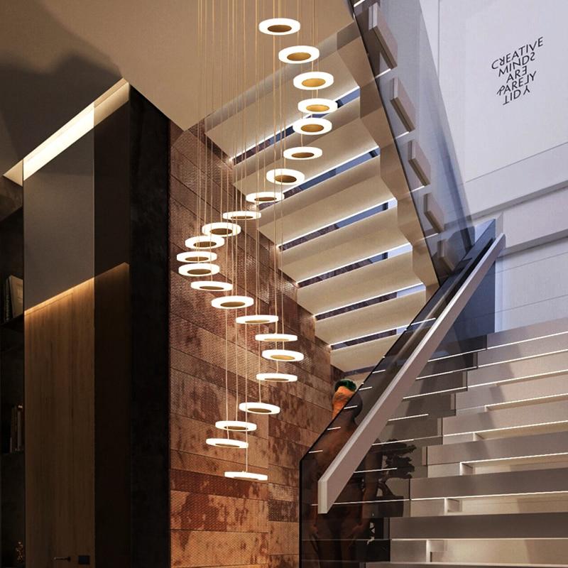Lámpara colgante de luz moderna minimalista, sala de piso doble, ambiente de moda, lámpara nórdica para sala de estar, villa, escalera en espiral, colgante largo