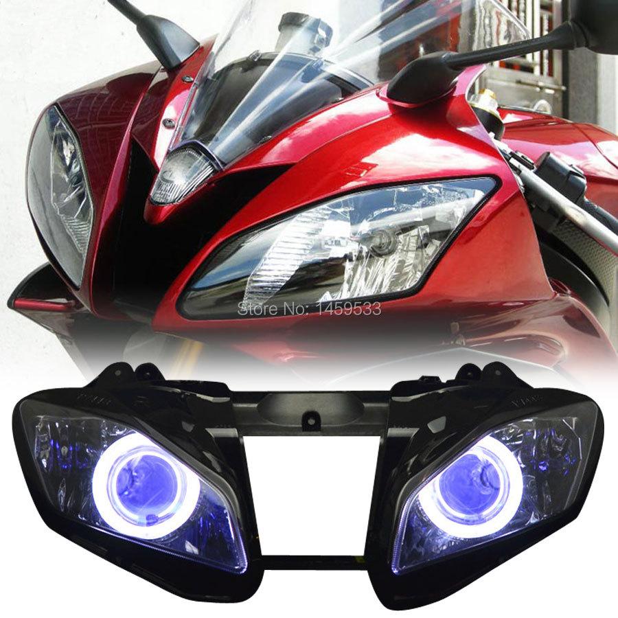 Faro delantero para motocicleta, lámpara Angel Eye HID, proyector de ensamblaje de faro para motocicleta para Yamaha YZF R6 2006 2007