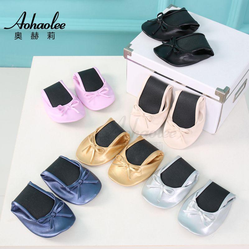 Aohaolee mujer PU bailarina de Fitness pisos de Ballet zapatos plegables portátil bailarines de Ballet confortable salón de baile zapatos de mujer Zapatos