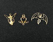10 pcs Beautiful Love heart angel bats Metal Frame Pendant Gold Charm Bezel Setting Cabochon Setting UV Resin Charm