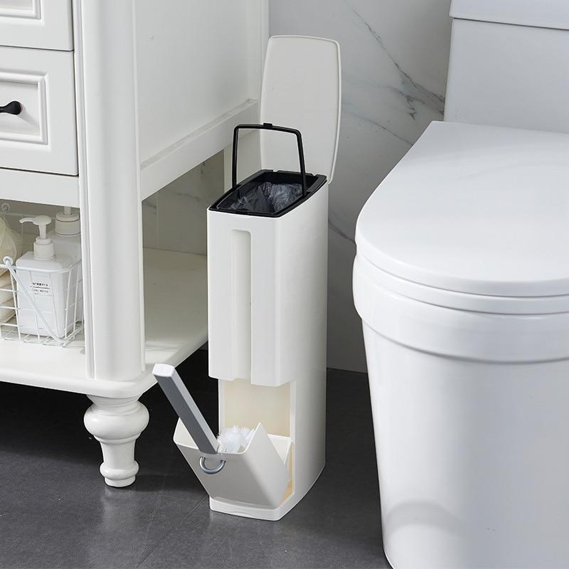 Набор мусорных ведер для ванной комнаты, мусорное ведро из пластика с туалетной щеткой, мусорное ведро для ванной комнаты, мусорное ведро, м...
