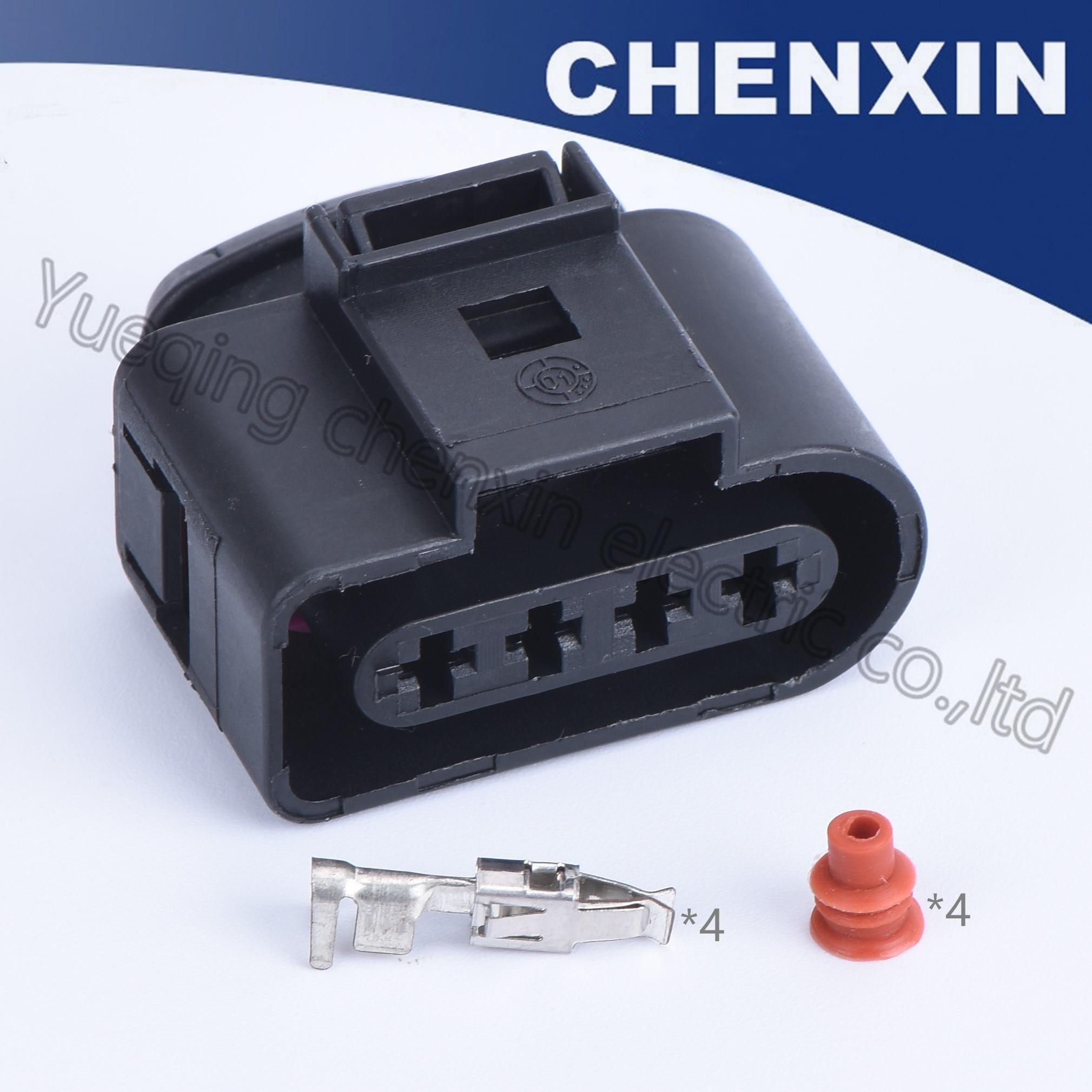 Preto 4 pinos carro selado à prova dwaterproof água conector automático (clipe rosa) 1j0 973 724 1j0973724 fêmea 3.5 conector da bobina de ignição