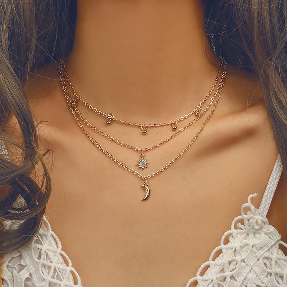 Collar de accesorios de moda para mujer, collar largo de oro, colgante de cadena Collarbone, Gargantilla para mujer 2010