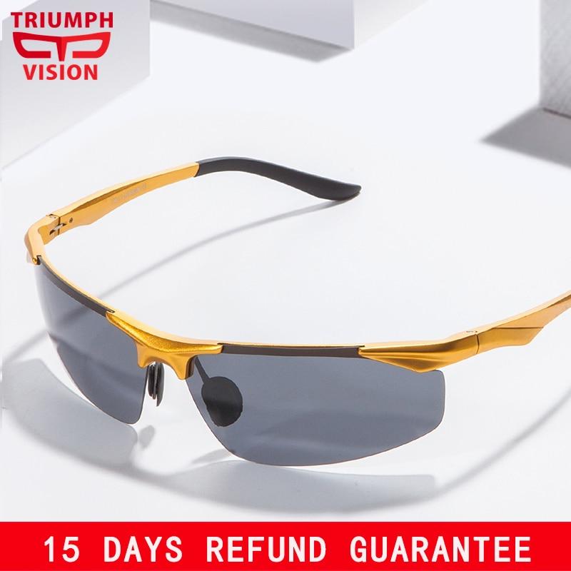 TRIUMPH visión aluminio magnesio polarizado conductor gafas de sol para hombres conducción Polaroid hombre gafas de sol fresco Lunette