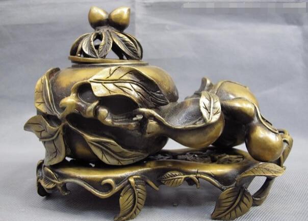 "song voge gem S1632 Chinese Folk Fane Copper Bronze ""Shou"" Peaches Bat Gourd Censer incense burner"