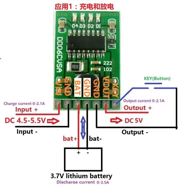 Módulo integrado de carga y descarga de 2A 5 V, placa de alimentación móvil de 3,7 V/4,2 V