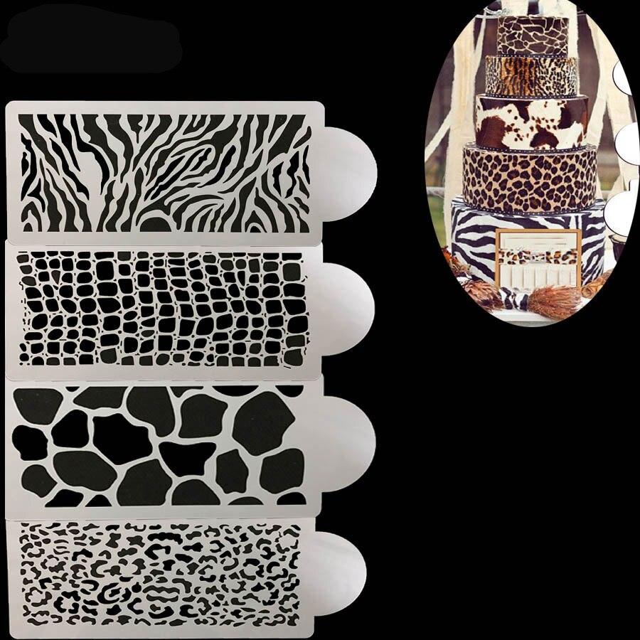 4PC Croco snakeskin leopard zebra fondant ferramenta de Decoração Do Bolo de padaria molde Bakeware Baking Fondant Bolo Molde Modelo Stencil